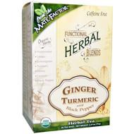 3 PACK of Mate Factor, Organic Functional Herbal Blends, Ginger Turmeric with Black Pepper, 20 Tea Bags, (3.5 g) Each
