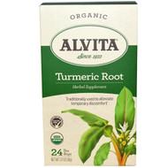 3 PACK of Alvita Teas, Turmeric Root, Organic, Caffeine Free, 24 Tea Bags, 1.27 oz (36 g)