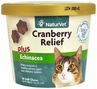 3 PACK of NaturVet Cranberry Relief Plus Echinacea for Cats -- 60 Soft Chews