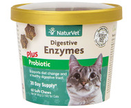 3 PACK of NaturVet Digestive Enzymes Plus Probiotic for Cats -- 60 Soft Chews