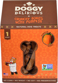 3 Pack of Doggy Delirious Crunchy Bones Natural Dog Treat Pumpkin - 16 oz