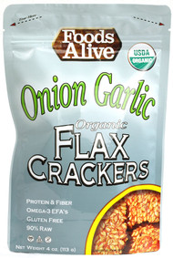 3 PACK of Foods Alive, Flax Crackers, Onion Garlic, 4 oz (113 g)