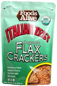 3 PACK of Foods Alive, Flax Crackers, Italian Zest, 4 oz (113 g)