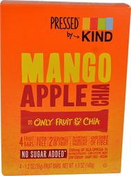 Kind Pressed Dried Fruit Bars  Mango Apple Chia - 4 Bars