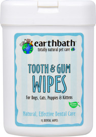3 Pack of Earthbath Tooth & Gum Wipes For Dogs Cats Puppies & Kittens Peppermint - 25 Wipes