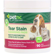 3 PACK OF petnc NATURAL CARE, Tear Stain Cleansing Pads, For Cats & Dogs, 90 Pads