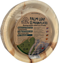 EcoSouLife Palm Leaf Main Plates 10-Inch Natural - 12 Dishes
