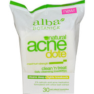 5 PACK of Alba Botanica, Acne Dote, Daily Cleansing Towelettes, Oil Free, 30 Wet Towelettes