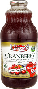 5 PACK of Lakewood Organic Cold Pressed Juice Blend  Cranberry - 32 fl oz