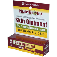3 PACK of NutriBiotic, Skin Ointment, 2% Grapefruit Seed Extract with Lysine, .5 fl oz (15 ml)