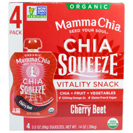 3 PACK of Mamma Chia, Chia Squeeze Vitality Snack, Cherry Beet, 4 Squeezes, 3.5 oz (99 g) Each