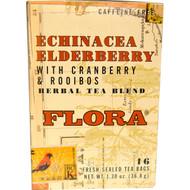 3 PACK of Flora, Echinacea Elderberry with Cranberry & Rooibos Herbal Tea Blend, Caffeine-Free, 16 Tea Bags, 1.30 oz (36.8 g)