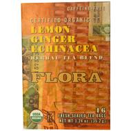 Flora, Herbal Tea Blend, Certified Organic Lemon Ginger Echinacea, Caffeine Free, 16 Tea Bags, 1.24 oz (35.2 g)