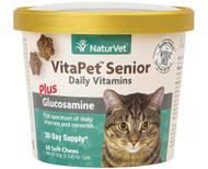 NaturVet VitaPet Senior Daily Vitamins Plus Glucosamine For Cats - 60 Soft Chews
