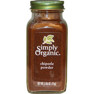 3 PACK of Simply Organic, Organic Chipotle Powder, 2.65 oz (75 g)