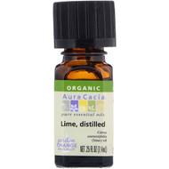 3 PACK OF Aura Cacia, Organic, Pure Essential Oils, Lime, Distilled, .25 fl oz (7.4 ml)