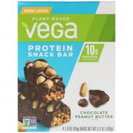 3 PACK OF Vega, Protein Snack Bar, Chocolate Peanut Butter, 4 Bars, 1.6 oz (45 g) Each