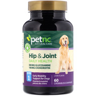 3 PACK OF petnc NATURAL CARE, Hip & Joint, Level 1, Liver Flavor, 60 Chewables
