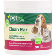 3 PACK OF petnc NATURAL CARE, Clean Ear Cleansing Pads, For Cats and Dogs, 90 Pads