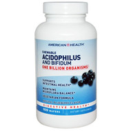 American Health, Chewable Acidophilus and Bifidum, Natural Blueberry Flavor, 100 Wafers