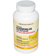 American Health, Chewable Acidophilus and Bifidum, Natural Banana Flavor, 100 Wafers