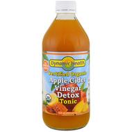 3 PACK OF Dynamic Health  Laboratories, Certified Organic Apple Cider Vinegar Detox Tonic, 16 fl oz (473 ml)