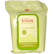 Blum Naturals, Daily Cleansing & Makeup Remover Towelettes, Combination & Oily Skin, Tea Tree, 30 Towelettes