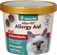 3 PACK of NaturVet Aller-911 Allergy Aid Plus Antioxidants for Cats -- 60 Soft Chews