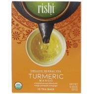 3 PACK OF Rishi Tea, Organic Herbal Tea, Turmeric Mango, 15 Tea Bags, 2.01 oz (57 g)