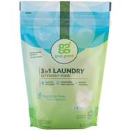 GrabGreen, 3-in-1 Laundry Detergent Pods, Fragrance Free, 24 Loads, 15.2 oz (432 g)