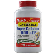 Mason Naturals, Super Calcium 600 + D3 Chewable, Coffee Mocha Flavor, 100 Chewables