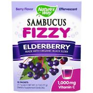 3 PACK OF Natures Way, Sambucus Fizzy, Elderberry, Berry Flavor, 1,000 mg, 10 Packets, 7.7 g Each