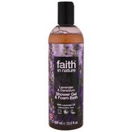 3 PACK OF Faith in Nature, Shower Gel & Foam Bath, Lavender & Geranium, 13.5 fl oz (400 ml)