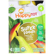 3 PACK OF Happy Family Organics, Organic HappyTot, Super Foods, Organic Pears, Mango & Spinach + Super Chia, Stage 4, 4 Pack, 4.22 oz (120 g) Each