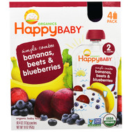 3 PACK OF Happy Family Organics, Organic Baby Food, Stage 2, Simple Combos, Bananas, Beets & Blueberries, 4 Pouches - 4 oz (113 g) Each
