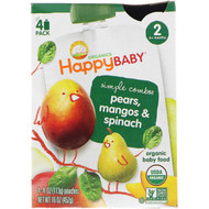 3 PACK OF Happy Family Organics, Organic Baby Food, Pears, Mangos & Spinach, Stage 2, 6+ Months, 4 Pack - 4 oz (113 g) Each