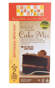 123 Gluten Free, Deliriously Delicious Cake Mix,  Devils Food Chocolate - 12.88 oz