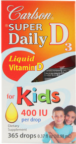 Carlson, Super Daily D3 For Kids - 400 IU - 365 Drops