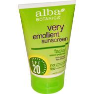 Alba Botanica,  Very Emollient Sunscreen, Facial Mineral Protection, SPF 20, 4 oz (113 g)