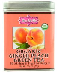 Brew La La Tea, Organic Green Tea,  Ginger Peach - 50 Tea Bags
