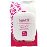 Acure Organics, Clarifying Acne Glycolic + Zinc Towelettes, 30 Towelettes