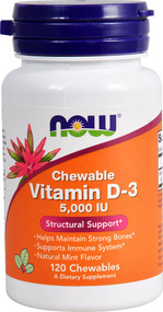 NOW Foods Chewable Vitamin D-3 Natural Mint - 5000 IU - 120 Chewables