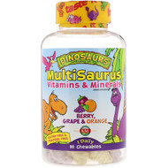 3 PACK OF KAL, Dinosaurs, MultiSaurus Vitamins & Minerals, Berry, Grape & Orange, 90 Chewables
