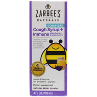 3 PACK OF Zarbees, Childrens Complete Cough Syrup + Immune with Dark Honey & Elderberry, Natural Berry Flavor, 4 fl oz (118 ml)