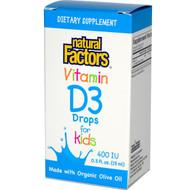 Natural Factors, Vitamin D3 Drops for Kids, 400 IU, 0.5 fl oz (15 ml)