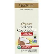 Spectrum Culinary, Organic Virgin Coconut Oil, Unrefined Medium Heat, 10 Single Serve Packets, 0.5 fl oz (14.7 ml) Each