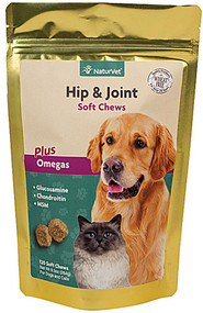 NaturVet Hip and Joint Soft Chews plus Omegas for Dogs and Cats - 120 Soft Chews
