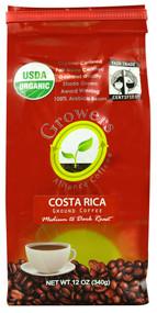 Growers Alliance Coffee, Organic Ground Coffee,  Costa Rica - 12 oz