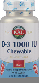 Kal Vitamin D-3 Peppermint - 1000 IU - 200 Chewables