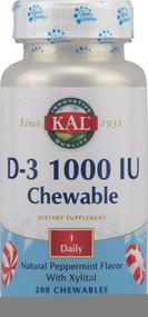 KALKal Vitamin D-3 Peppermint -- 1000 IU - 200 Chewables